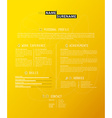Creative simple cv template on yellow background vector image vector image