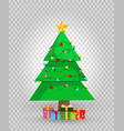 cute cartoon decorated christmas fir tree with vector image vector image