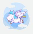 cute little pegasus sticker set vector image