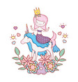 cute mermaid with unicorn and floral decoration vector image