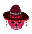 day dead sugar skull flowers and hat vector image vector image
