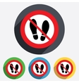 Do not stay Imprint shoes sign icon Shoe print vector image vector image