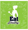 eat healthy woman gym green vegetable background v vector image vector image