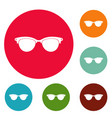 eyeglasses for blind icons circle set vector image vector image