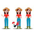 female farmer cartoon character vector image vector image