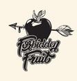 forbidden fruit handwritten lettering hand drawn vector image vector image