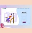 graphic designer artist - draws on tablet vector image vector image