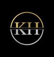 initial kh letter logo design abstract letter kh vector image vector image