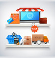 items on shelves composition vector image vector image