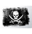 jolly roger black pirate flag with skull and bones vector image