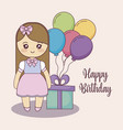 little girl with gift box and balloons helium vector image vector image