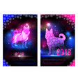 magic dogs 2018 new year brochures design for vector image