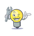 mechanic light bulb character cartoon vector image vector image