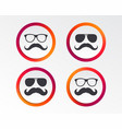 mustache and glasses icons hipster symbols vector image
