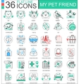 my pet friend flat line outline icons vector image