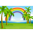 Ocean and rainbow vector image vector image