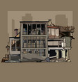 painted dilapidated three storey building in ruins vector image vector image