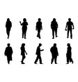 people silhouette walking on white background vector image vector image