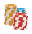 Red yellow and blue casino tokens cartoon icon vector image vector image