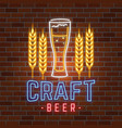 retro neon beer bar sign on brick wall background vector image vector image