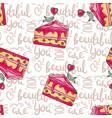 romantic cakes seamless pattern vector image