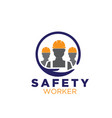 safety worker logo designs for construction vector image