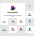 set of colorful play logo design concept play vector image vector image