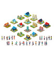 set of urban isometric houses and groups of vector image