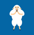 sheep scared omg ewe oh my god emoji frightened vector image vector image