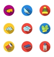 Ski resort set icons in flat style Big collection vector image vector image