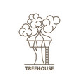 treehouse in linear vector image vector image