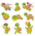 turtle child cute little green turtles mascot vector image vector image