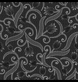 white lace seamless pattern with tulips on black vector image vector image