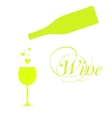 wine bottle with wineglass and sparkles vector image vector image