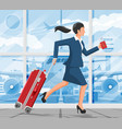 woman with travel bag tourist with suitcase vector image vector image