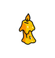 yellow cartoon burning wax candle vector image