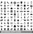 100 woman happy icons set simple style vector image vector image