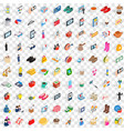 100 woman icons set isometric 3d style vector image vector image