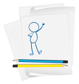 A paper with a sketch of a person standing vector image vector image
