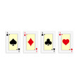 a winning poker hand four aces playing cards vector image vector image