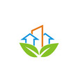 arrow building eco logo vector image vector image