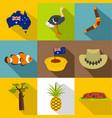 australian symbols icon set flat style