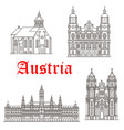 austrian architecture buildings icons vector image vector image