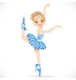 Ballerina girl in blue dress dancing on one leg vector image