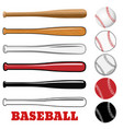baseball and bat isolated on white vector image vector image