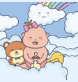bashower little girl bear duck in clouds vector image vector image