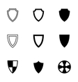 black shield icon set vector image vector image