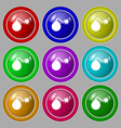bomb icon sign symbol on nine round colourful vector image vector image
