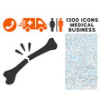 bone break icon with 1300 medical business icons vector image vector image