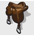 Brown leather horse saddle Equipment of the rider vector image vector image